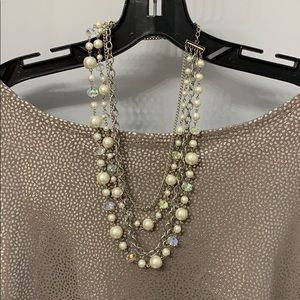 Pearl and chain four layer necklace